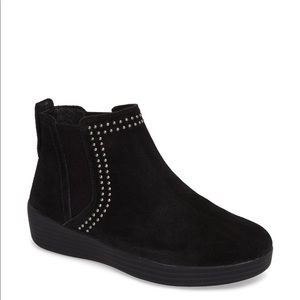 FITFLOP Super Chelsea Boot Black Studded Suede